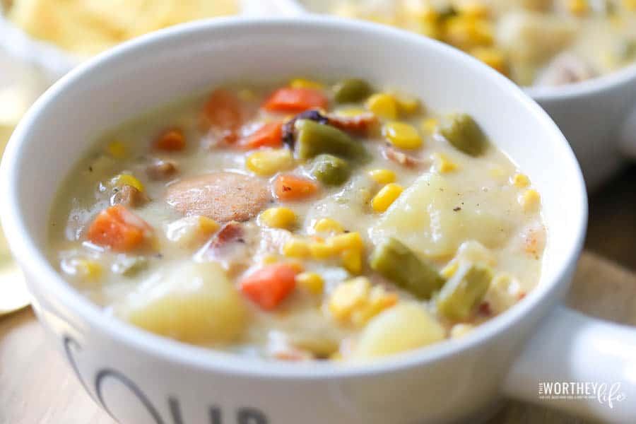 Instant Pot Vegetable Soup in a Rae Dunn bowl