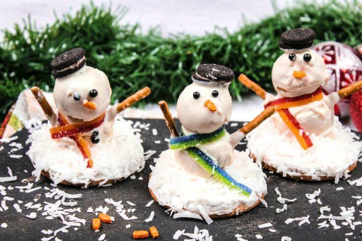 No Bake Melting Snowman Cookies