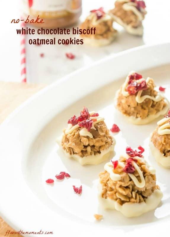 No Bake White Chocolate Biscoff Oatmeal Cookies