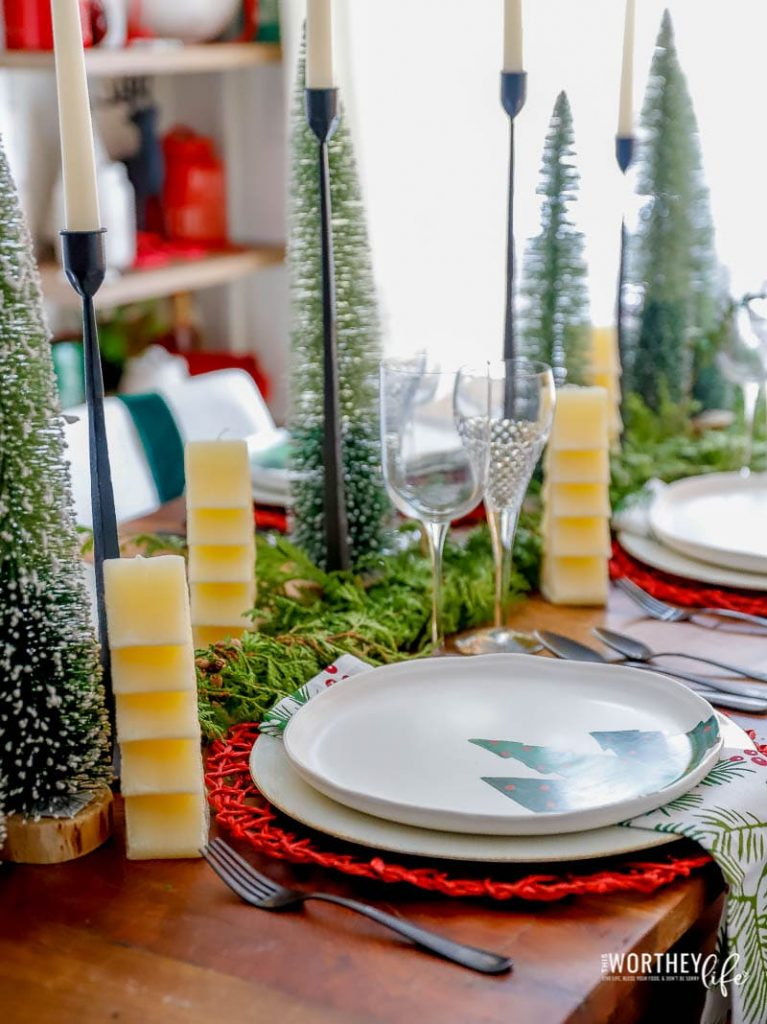 Red + Green Christmas Table Setting