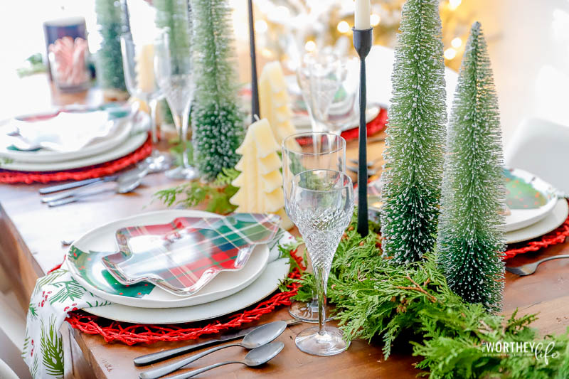 Plaid Christmas Tree Table decor