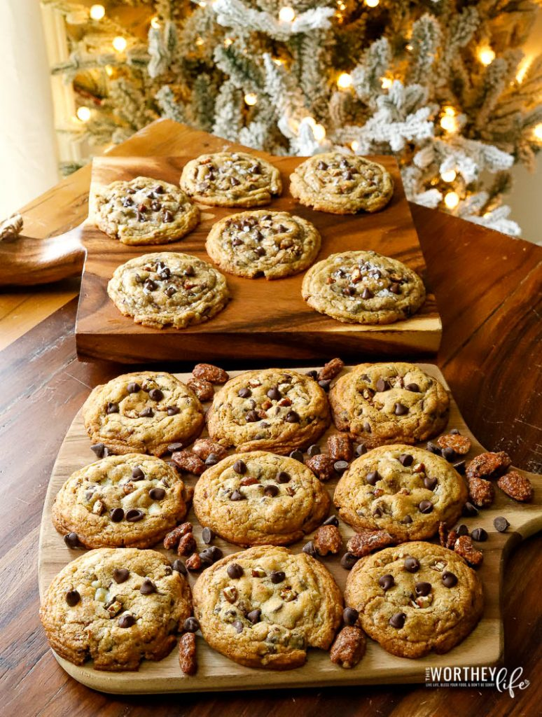 Super easy to make chocolate chip and pecan cookies