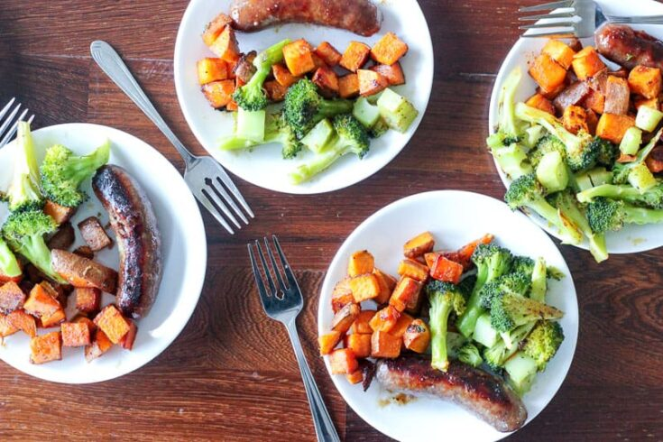 Sausage and Cajun Sweet Potato Sheet Pan Dinner