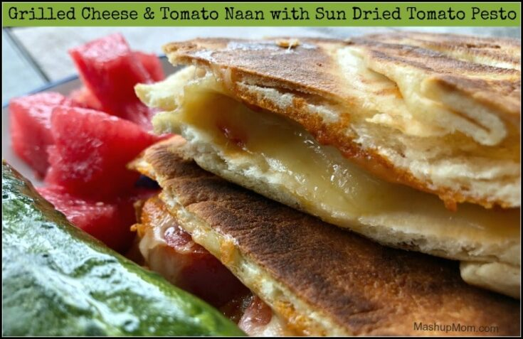 Five Ingredient Grilled Cheese & Tomato Naan with Sun Dried Tomato Pesto