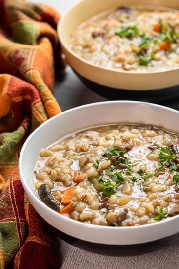 Slow Cooker Beef Barley and Mushroom Soup!