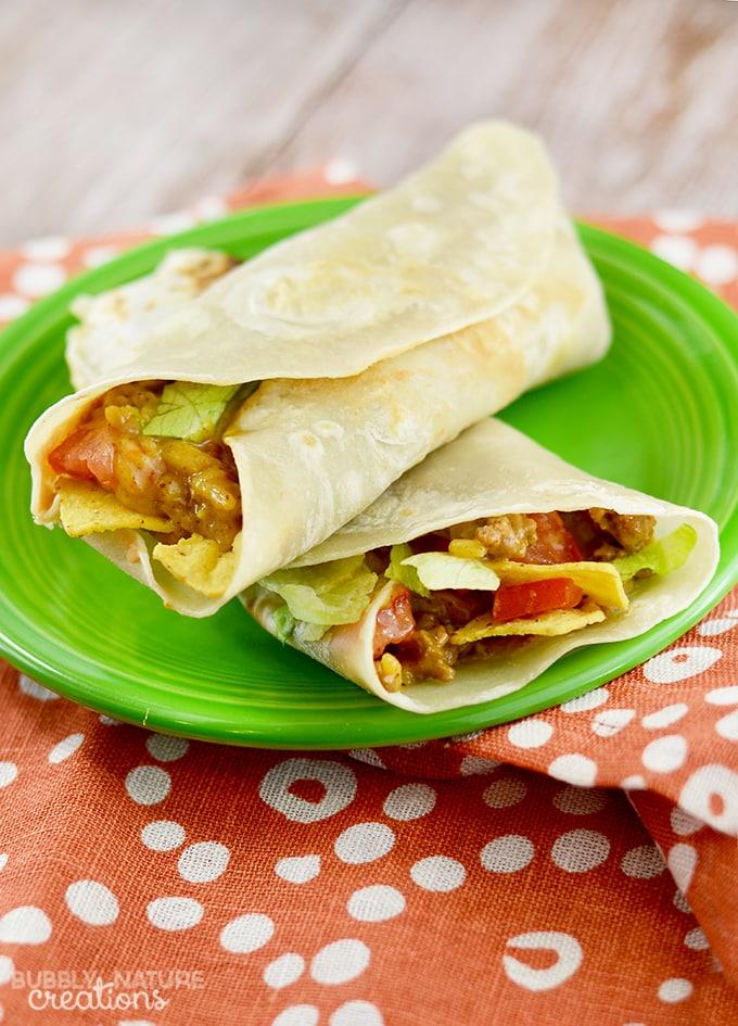 Crunchy Beef & Bean Burritos {Quick Dinner Recipe}
