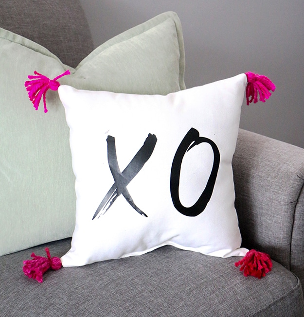 XO Vinyl Valentine's Day Pillow