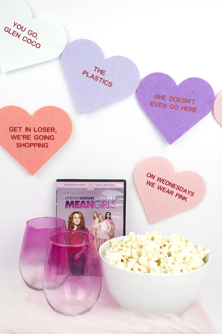 DIY Mean Girls Conversation Hearts Banner (and how to use Cricut Iron On Vinyl!)