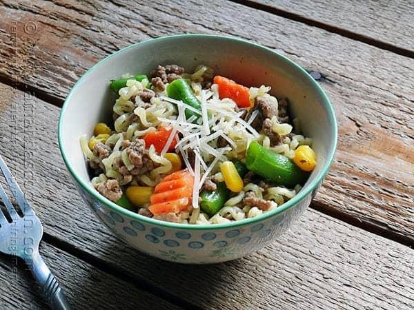 Ramen Noodle Casserole - Beef Skillet - Amanda's Cookin'