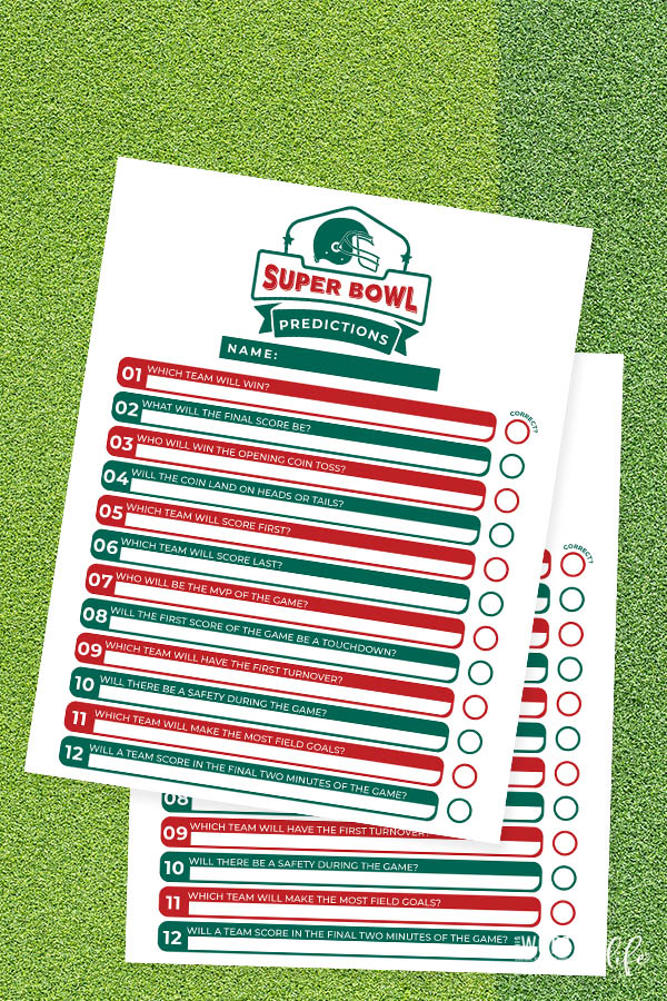 Have fun with super bowl score predictions by using our free printable for the big game. Use this free predictions printable for Super Bowl Sunday.
