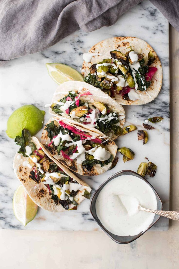 Crispy Kale and Brussel Sprout Tacos