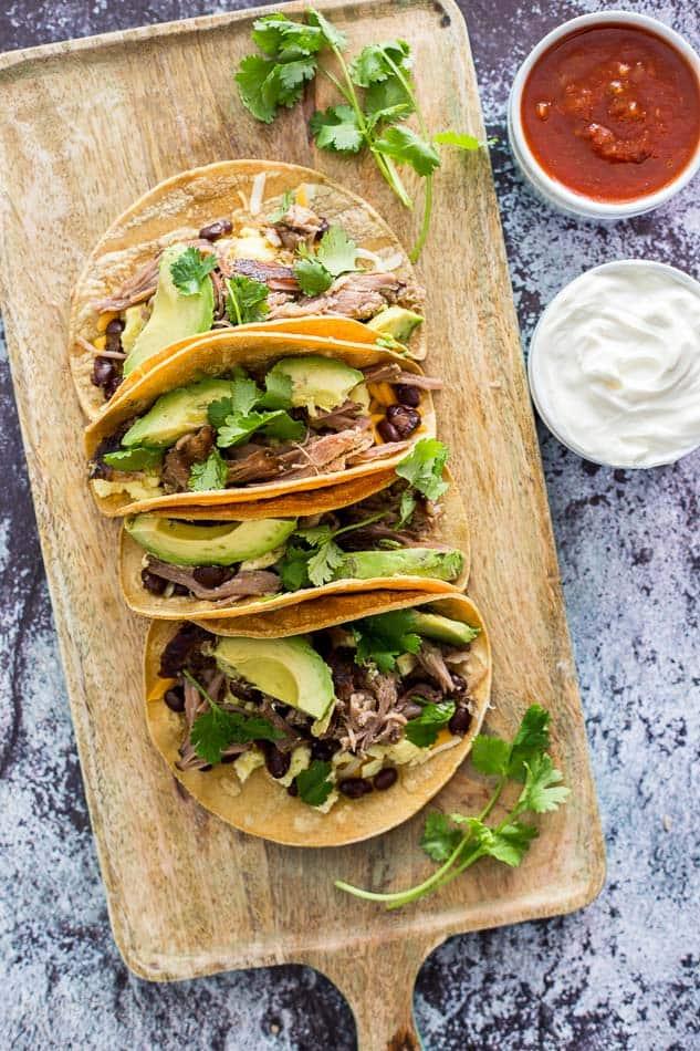 Slow Cooker Carnitas Breakfast Tacos