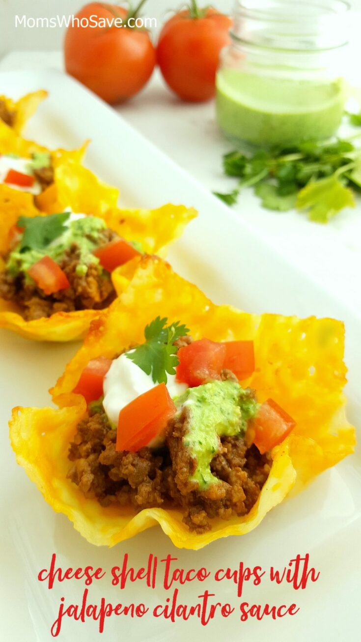 Cheese Shell Taco Cups with Jalapeno Cilantro Sauce (Keto-Friendly)