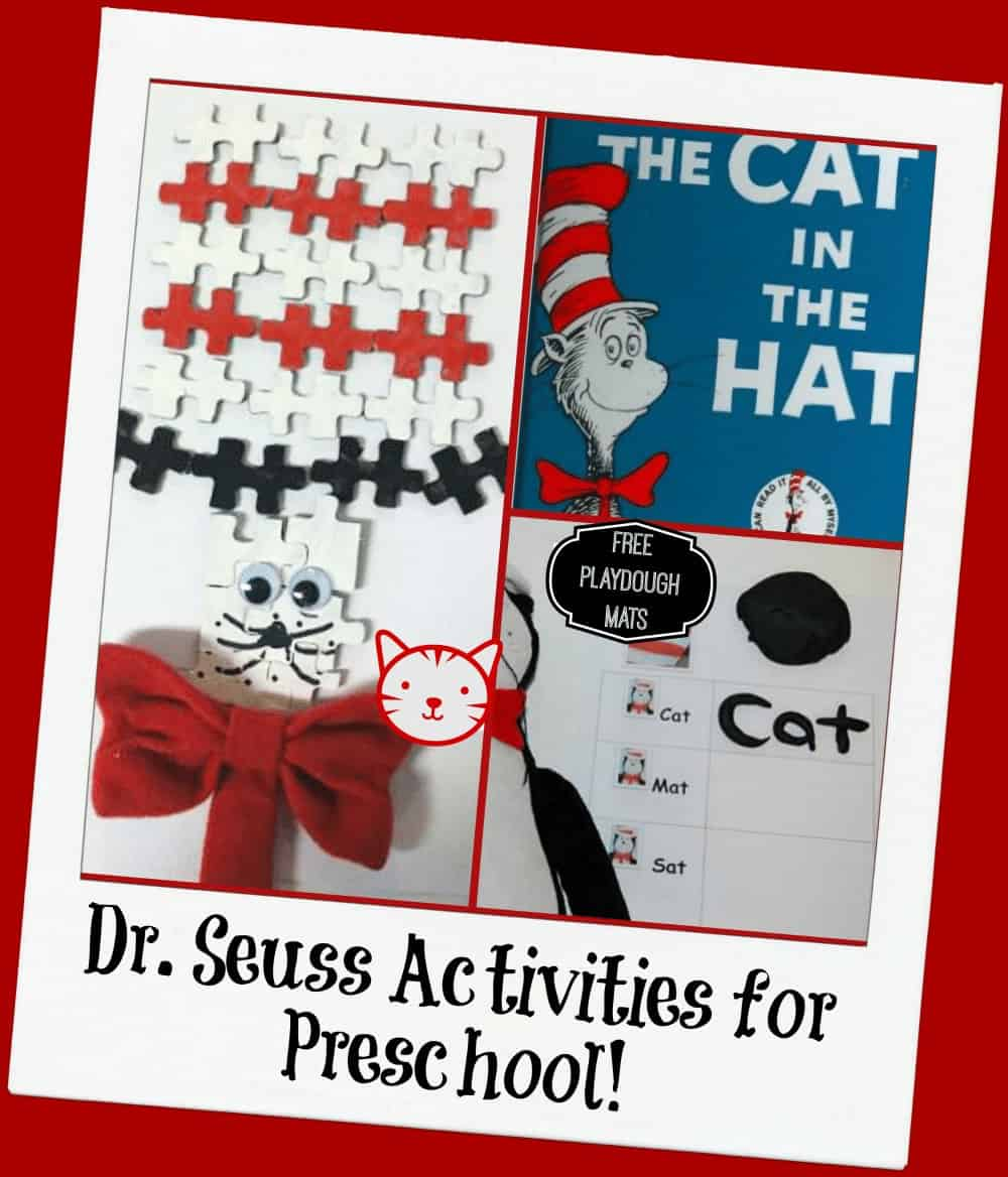 Cat in the Hat Play Dough Mats and Puzzle Craft!