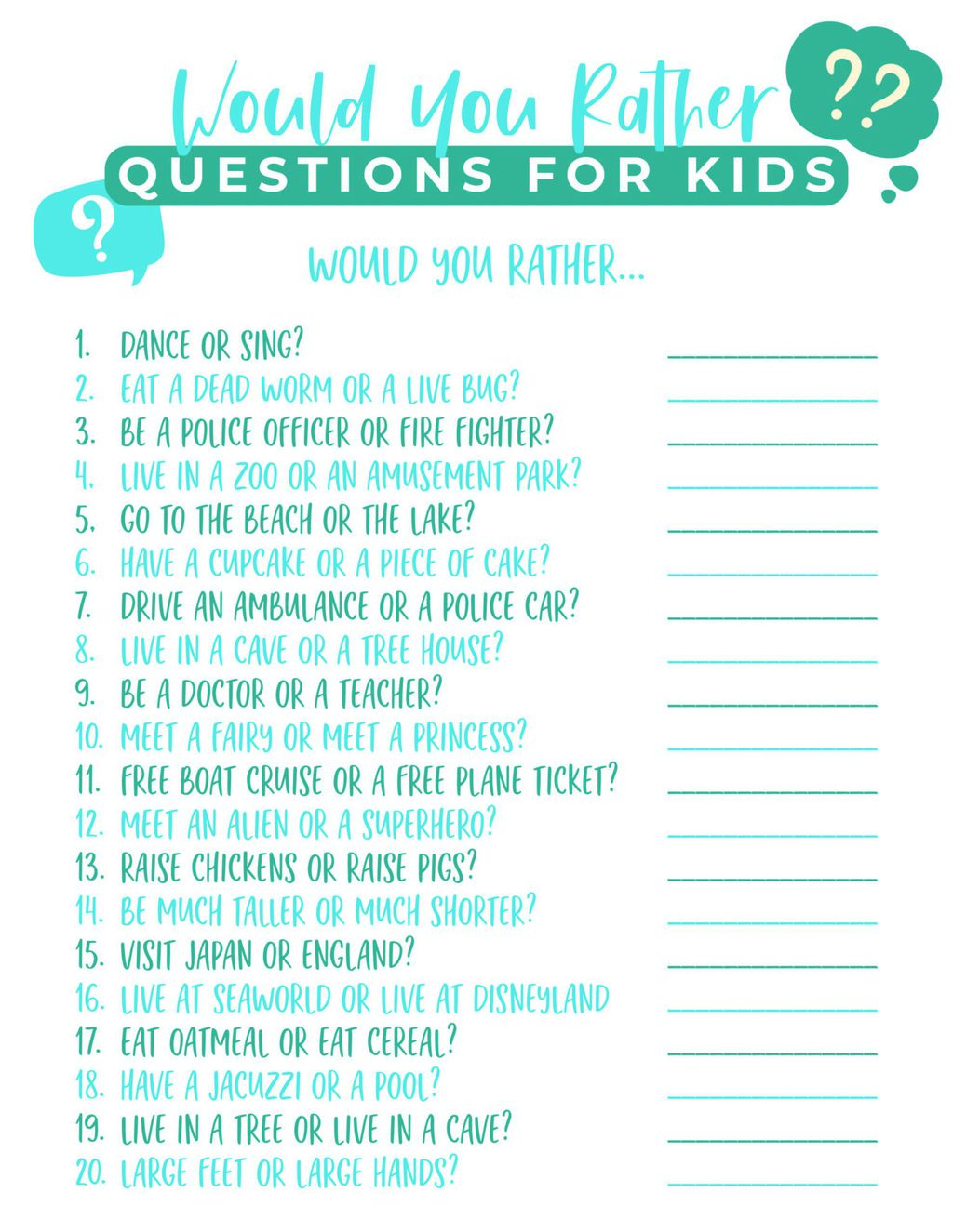Would You Rather Printable for kids