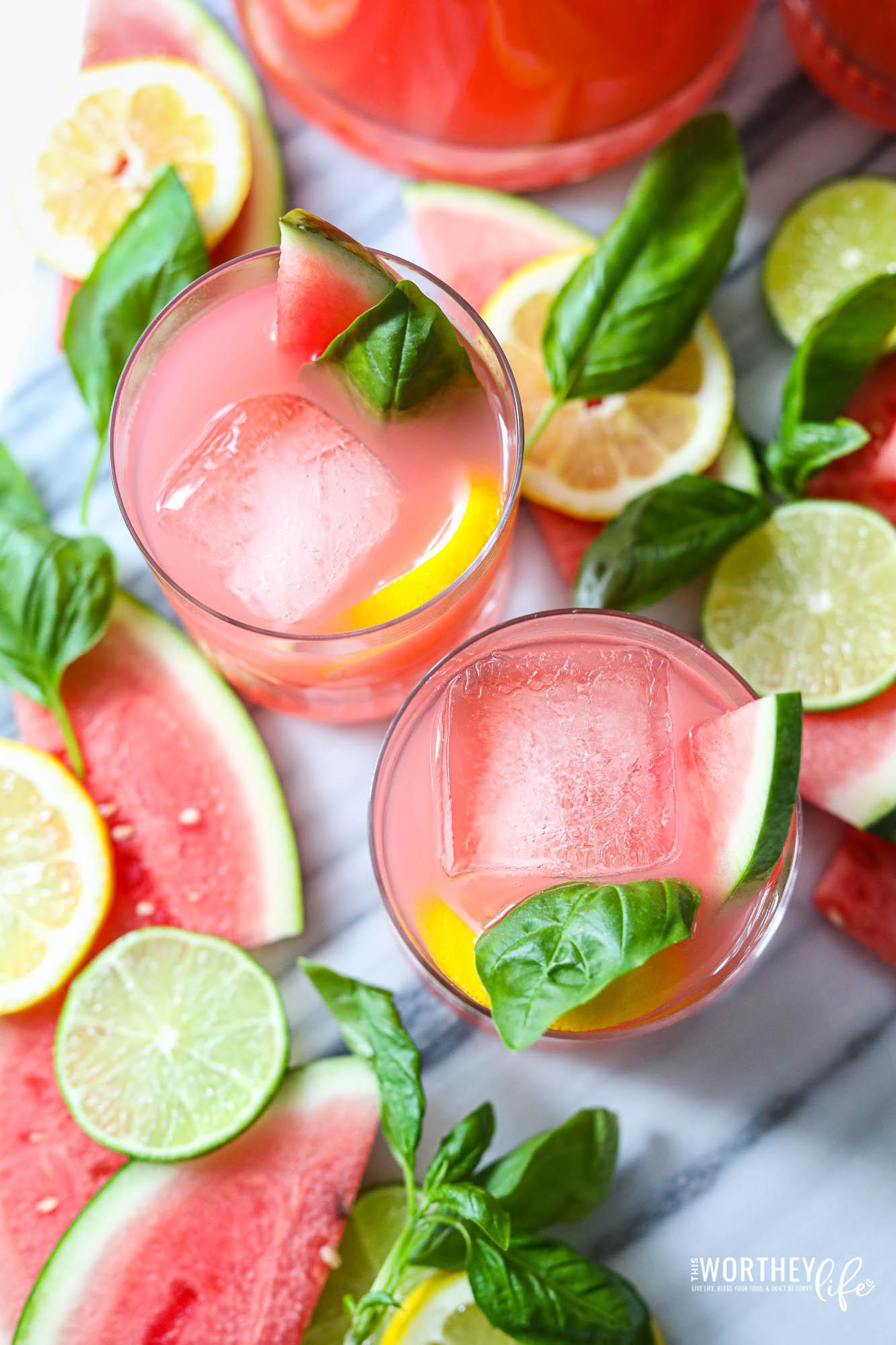 Watermelon Pink Lemonade Vodka Cocktail
