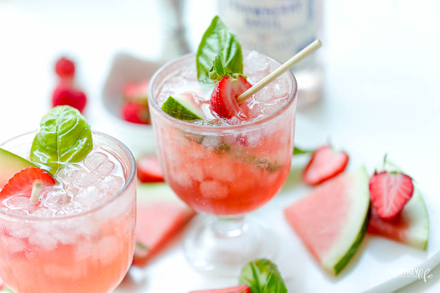 Watermelon Strawberry Basil Cocktail