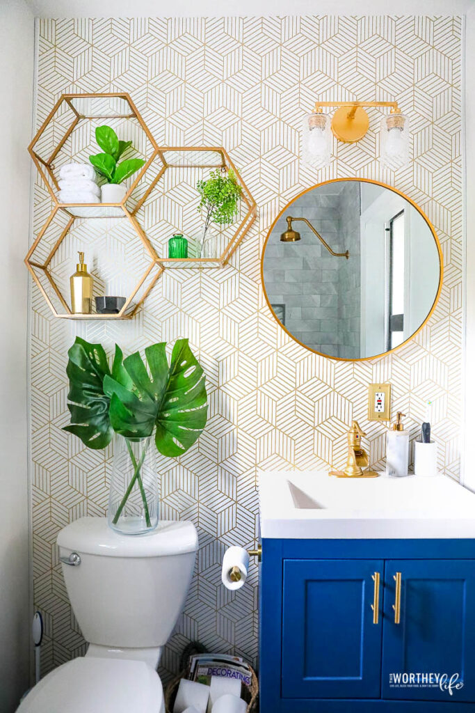Small Bathroom Remodel | Grey + Blue with Brushed Gold Accents