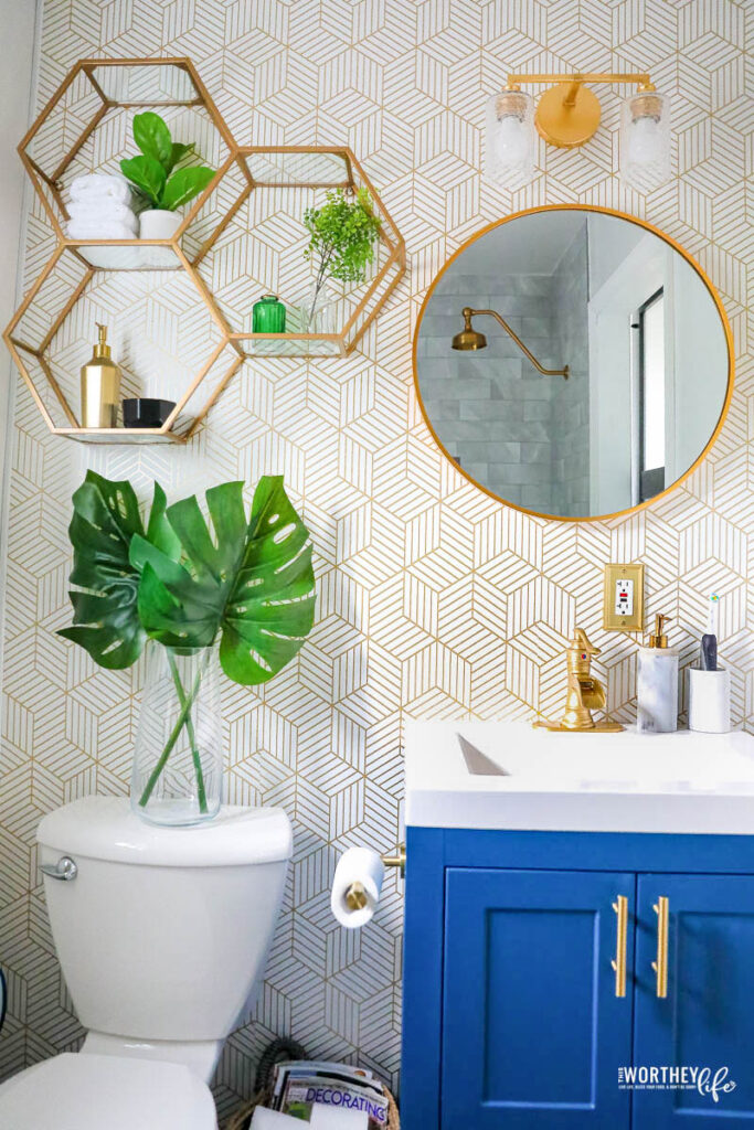 small bathroom remodel  grey  blue with brushed gold accents