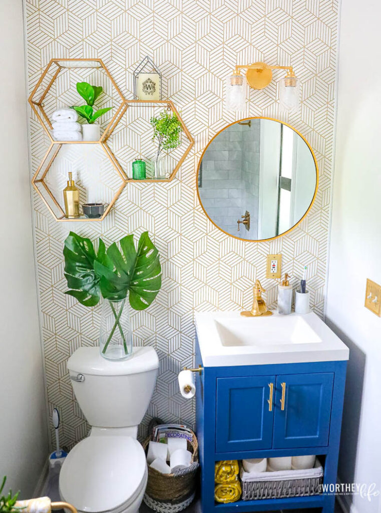 blue and gold bathroom