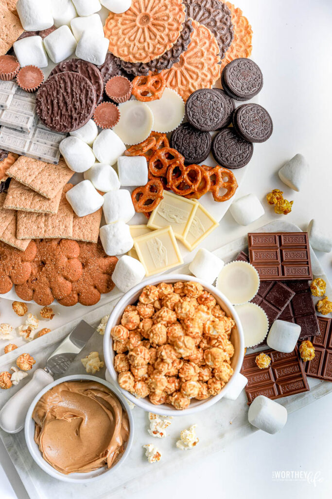 s'mores grazing board for movie night