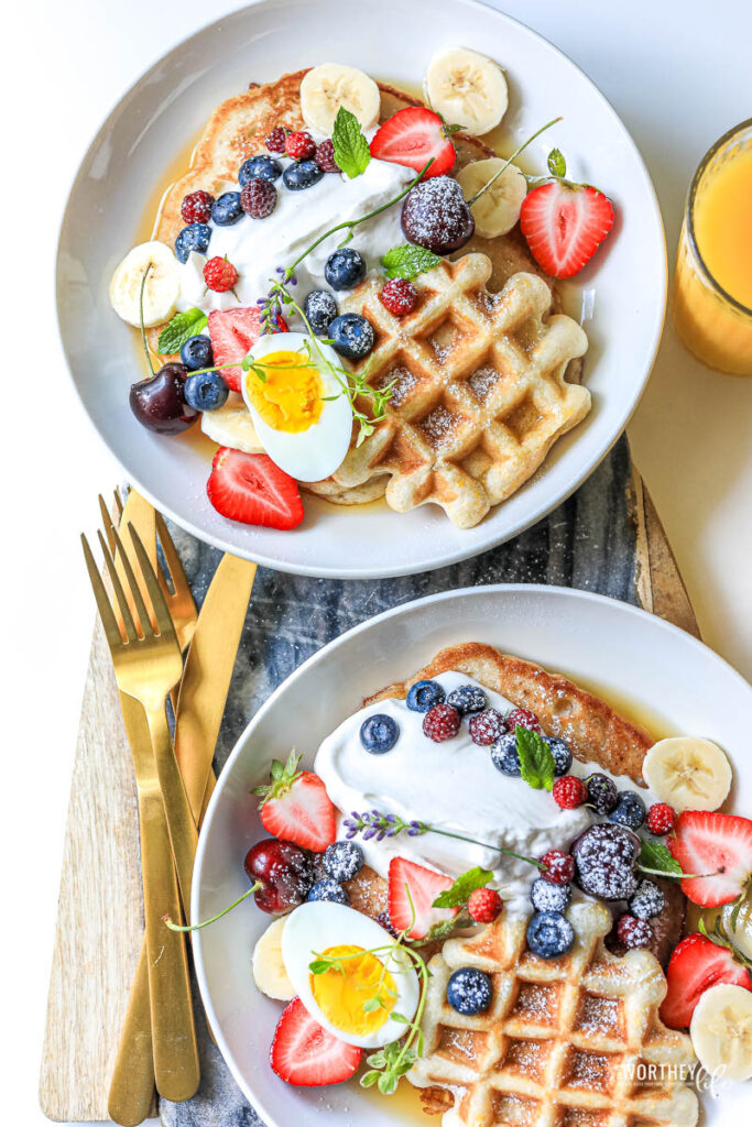 Waffle and Pancake Berry Breakfast