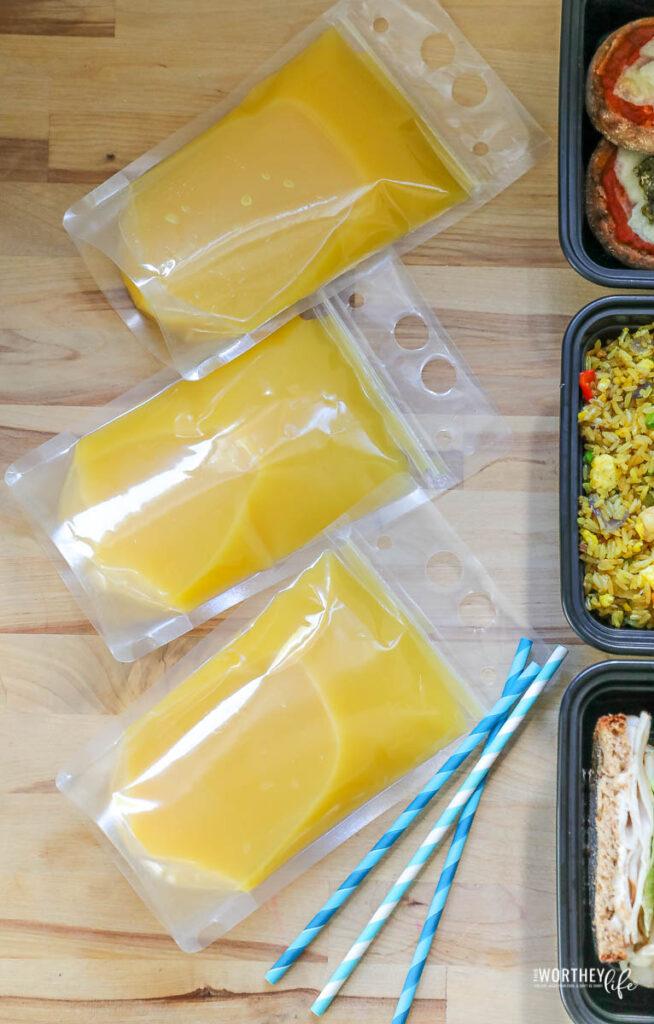 orange juice pouches
