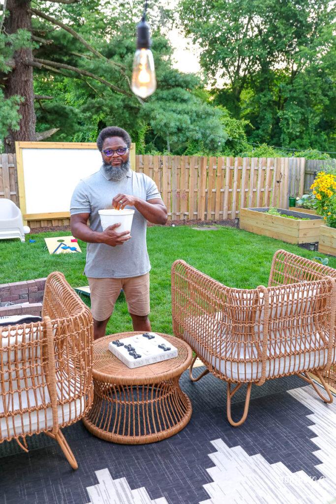enjoying the backyard