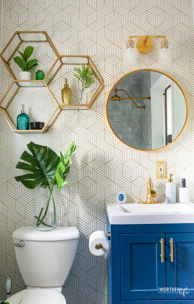 grey and gold bathroom design
