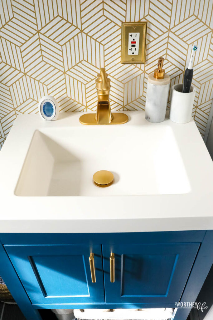 brushed gold accessories for bathroom