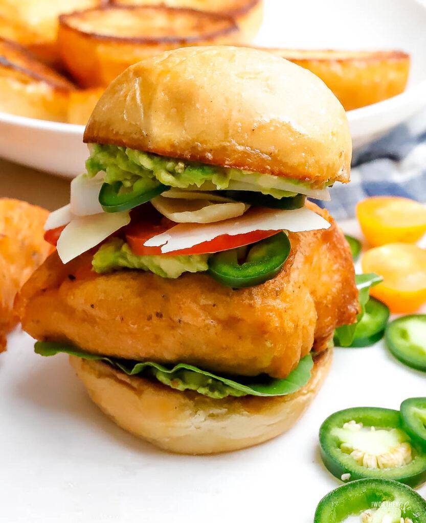deep-fried salmon sliders