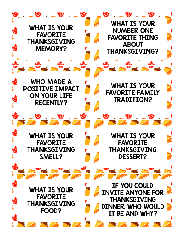 Thanksgiving Conversation Starters Printable