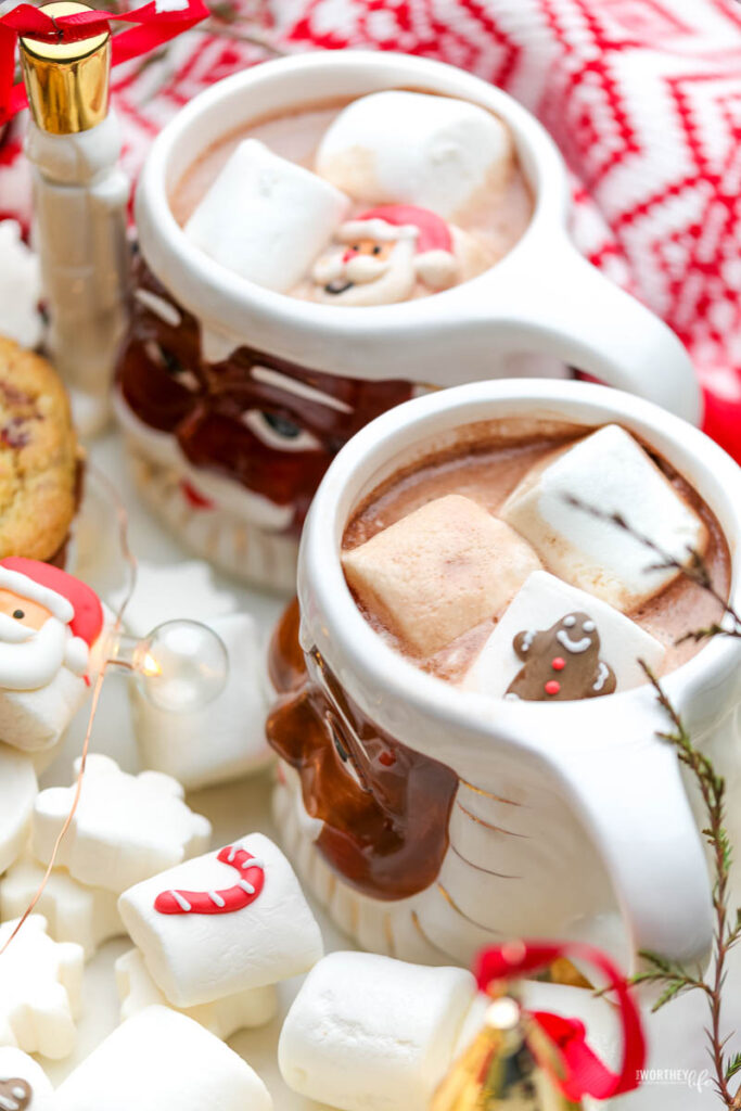 hot chocolate and holiday cookies