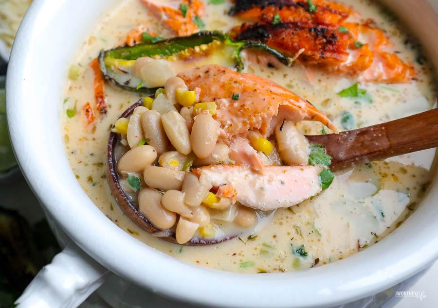 upclose photo of white chili salmon recipe