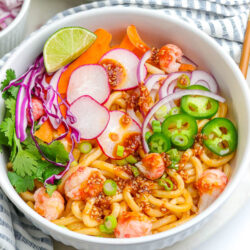 seafood sobo noodle salad in a white bowl
