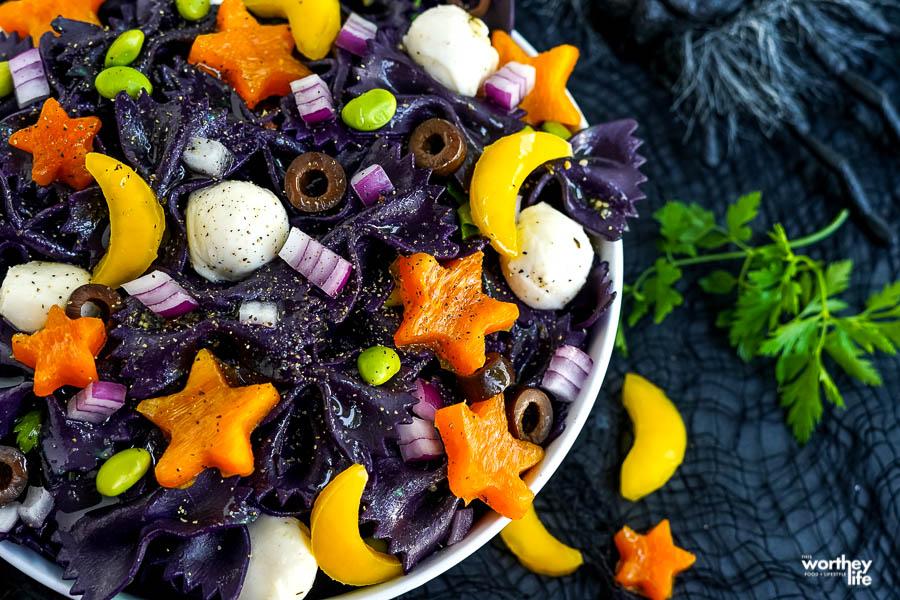 fresh veggies cut up for a pasta recipe