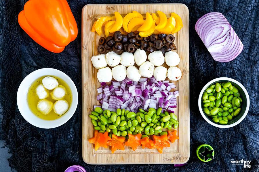 chopped veggies to use in a Halloween salad
