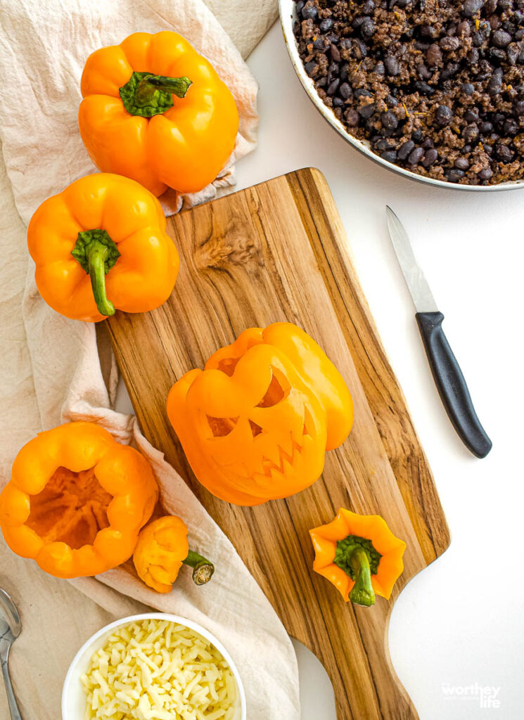 how to make jack o lantern peppers