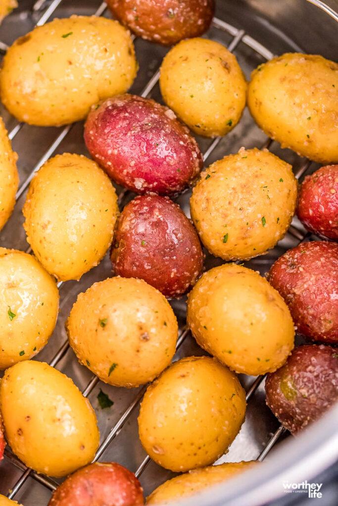 baked potatoes on baking rack